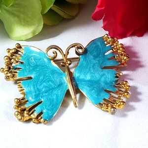 Butterfly pin brooch turquoise enamel gold tone